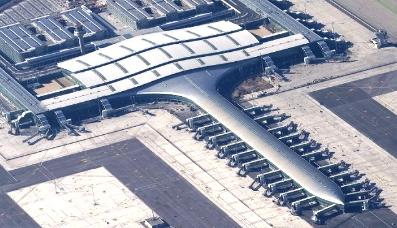 Vista aérea de la Terminal 1 de Barcelona-El Prat
