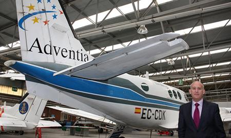 Uno de los aviones de Adventia,ubicada en Salamanca