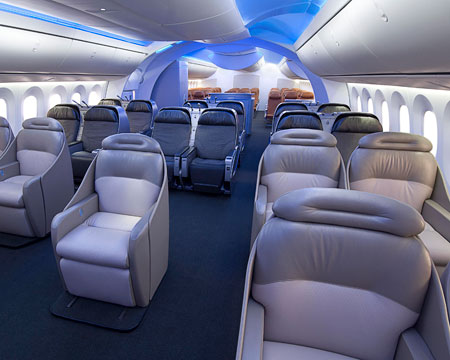 Interior de un 787 Dreamliner