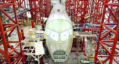 Fuselaje del CSeries que se utilizará para las pruebas estáticas / Foto: Bombardier