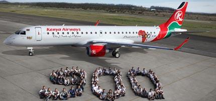 Kenya Airways tiene 12 aviones Embraer
