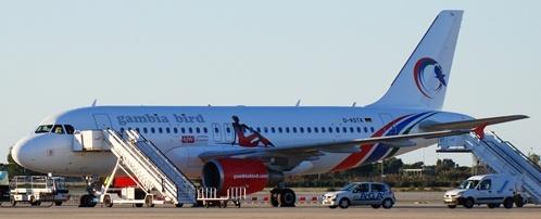 El A319 de Gambia Bird, hoy en Barcelona - El Prat / Foto: Aena Aeropuertos