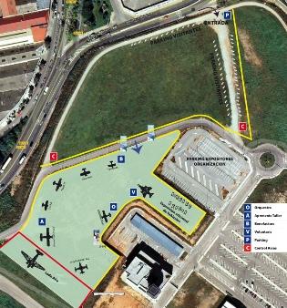 Plano de la zona del Aeropuerto de Sabadell reservado para la exhibición