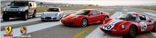 Tres Ferrari y un Hummer en la pista del Aeropuerto del Aeropuerto. Imagen publicada en www.cars-experience.com