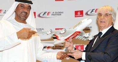 El Jeque Ahmed  bin Saeed Al-Maktoum, máximo representante de Emirates Group, y Bernie Ecclestone, CEO del grupo Fórmula 1