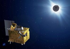 magen artística de PROBA-3 realizando observaciones de la Coronal Solar. En primer plano el Coronógrafo y en segundo plano el Ocultador. / Imagen: www.esa.int