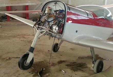 Se llevaron, además del motor, la bancada. / Foto: Facebook de Air Olé Escuela Pilotos