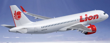 Imagen virtual de un A320 con los colores de Lion Air