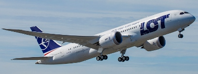 El avión de LOT, al inicio del vuelo de prueba