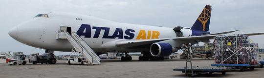 Uno de los Boeing 747 de Atlas Air, en el aeropuerto de Barcelona