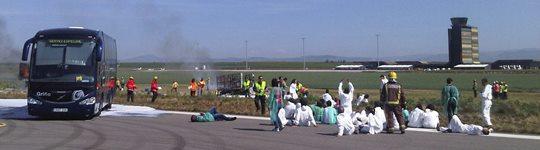 Imagen del esimulacro en Lleida-Alguaire