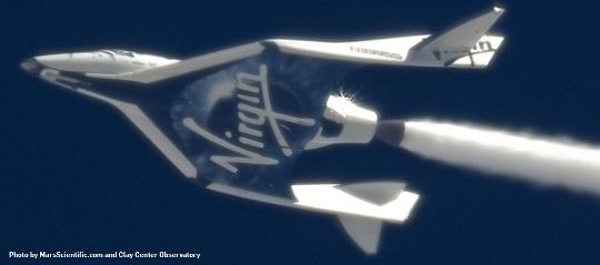 El SpaceShipTwo durante un vuelo de prueba