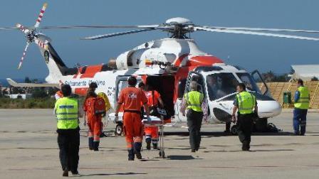 El helicóptero de Salvamento Marítimo, durante el ejercicio / Foto: Aena