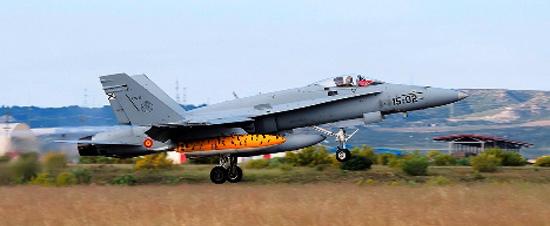 Despegue de Zaragoza de uno de los F-16 españoles que participan / Foto: Ministerio de Defensa