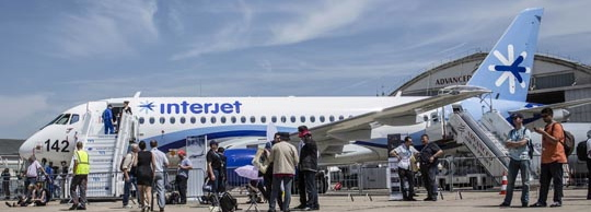 El Superjet 100 de Interjet, en Le Bouget