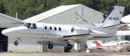 Un jet Cessna Citation, en el aeropuerto de Sabadell