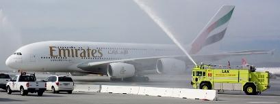 Llegada del A380 de Emirates a Los Ángeles