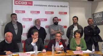 Los sindicalistas de Airbus, ayer en la sede de CCOO en Madrid / Foto: CCOO
