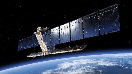 Imagen virtual del Sentinel-1A en órbita