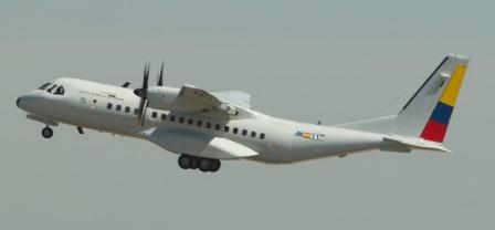 El primer C295 de Ecuador, despegando del aeropuerto de Sevilla