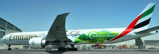 LLamativa decoración del 777 de Emirates