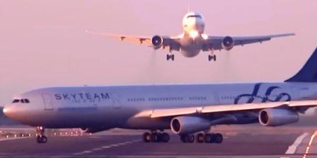 El momento crítico: el Boeing 767 tiene que abortar el aterrizaje