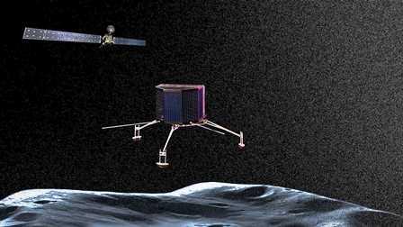 Rosetta y la sonda Philae, en una recreación que esta tarde es realidad