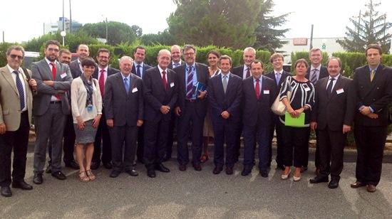 Los miembros de la delegación empresarial, en Toulouse