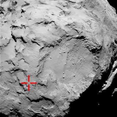 La imagen muestra la zona donde aterrizó por primera vez / ESA