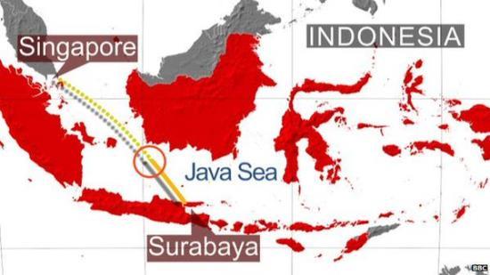 Imagen extraida del Twitter de noticias de la BBC, que indica la zona donde ha podido caer el avión