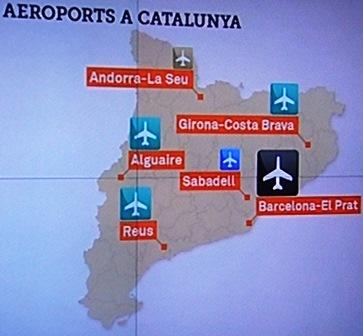 Mapa de lo aeropuertos catalanes