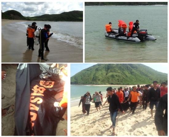 Imágenes divulgadas por BASARNAS de los trabajos de rescate