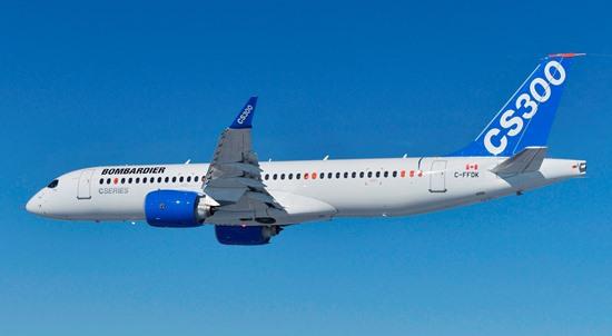 El CS300 durante el vuelo inaugural / Foto: Bombardier