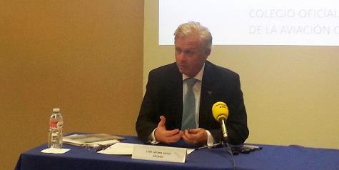 Luis Laxasa, decano del COPAC, hoy durante la presentación del Aerobarómetro / Foto: COPAC