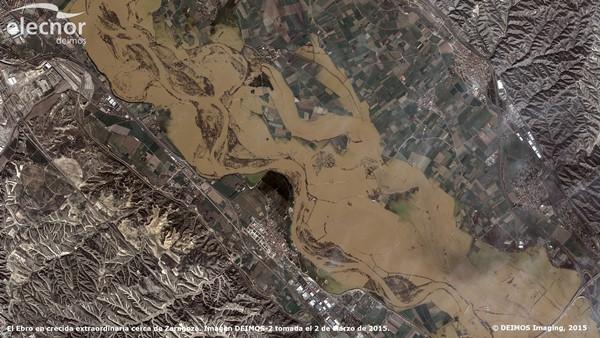 Foto de la crecida del río Ebro tomada por el Deimos-2 el pasado mes de marzo