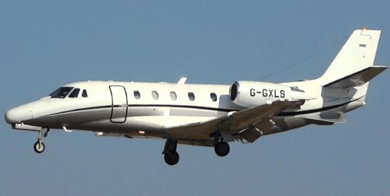 Un jet Cessna Citation, en la aproximación final al Aeropuerto de Barcelona / JFG