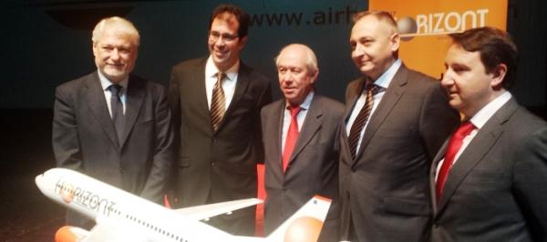 Air Horizont se presentó el pasado 27 de enero. A la izquierda el consejero de Economía, Francisco Bono / Gobierno de Aragón