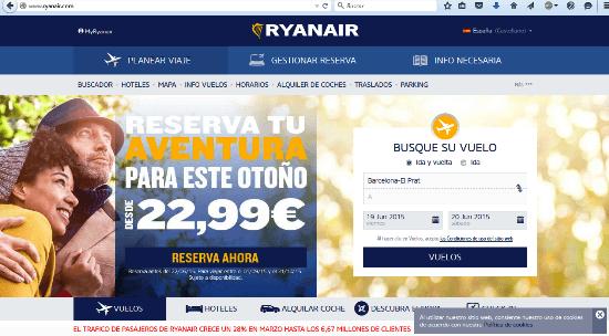 web de Ryanair