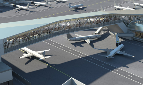 Puentes que conectarán el edificio terminal con las zonas de embarque