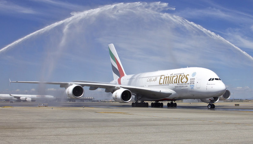 Bautizo del A380 al llegar a Madrid / Foto: Emirates