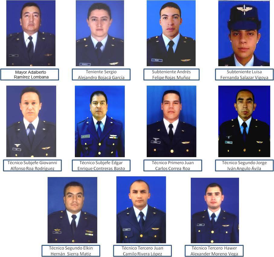 Fotos de los militares fallecidos / Fuerza Aérea Colombiana