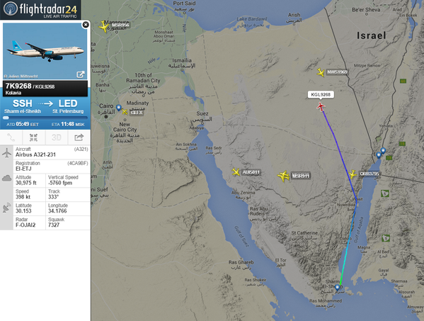 Captura de pantalla de Flightradar24, que muestra la trayectoria del avión