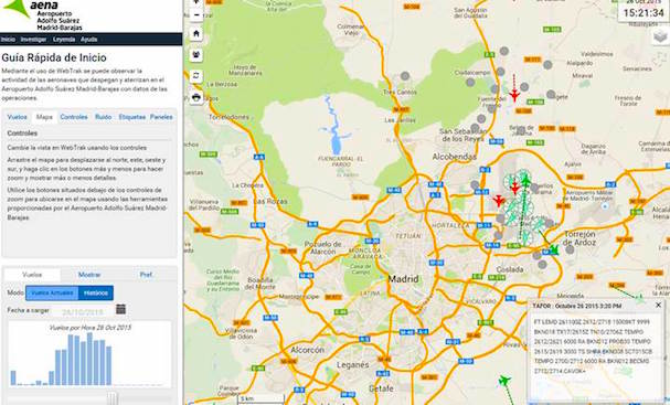 Captura de pantalla de la información que se ofrece del Aeropuerto de Madrid-Barajas