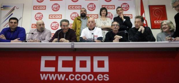 Rueda de prensa de sindicalistas de Airbus tras conocerse el miércoles 17 de febrero la sentencia