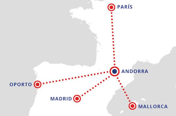 Las primeras rutas que Andorra Airlines realizará