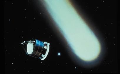 Recreación de Giotto y el cometa Halley