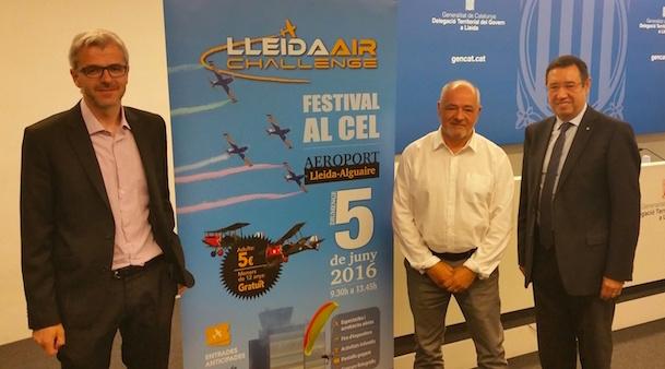 Ramon Farré, Miquel Vila i Jordi Candela (de dreta a esquerra), en la presentació del festival aeri Lleida Air Challenge
