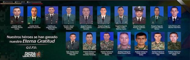 Fotografías de los fallecidos / Ejército de Colombia