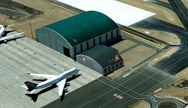 Imagen virtual del hangar y la nave adosada / Grupo Bertolín