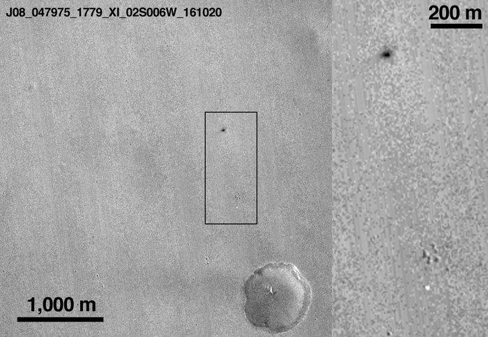El punto negro corresponde al impacto de Schiaparelli en Marte / ESA